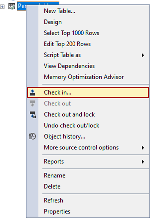 The Check in option in right-click context menu