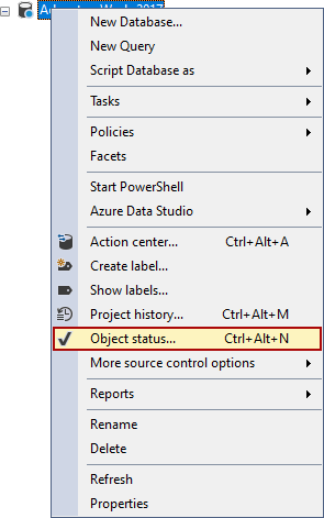 The Object status option in right-click context menu