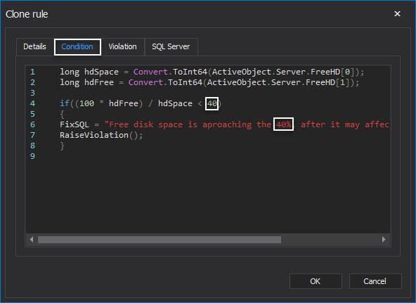 Edit health check SQL code