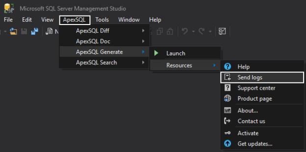 Send logs button in ApexSQL SSMS add-ins
