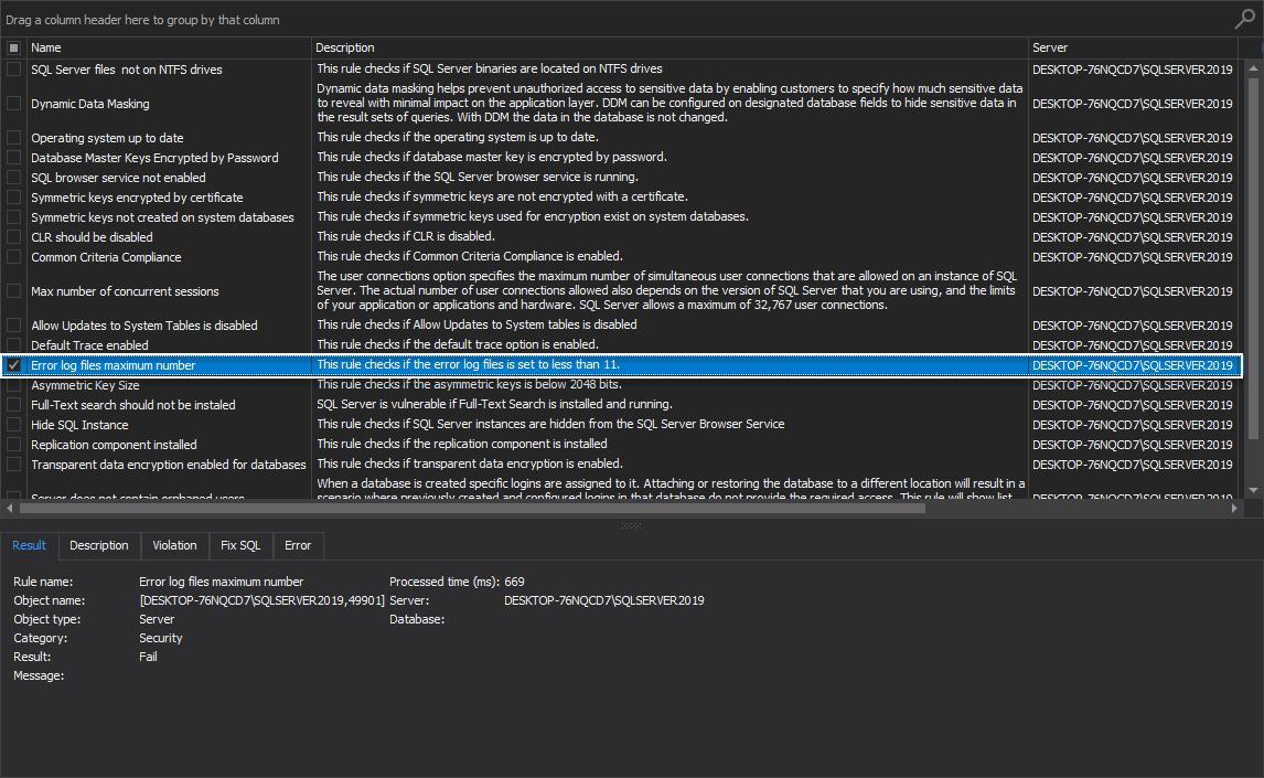 Error log files maximum number rule in ApexSQL Manage