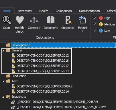 General folder in ApexSQL Manage
