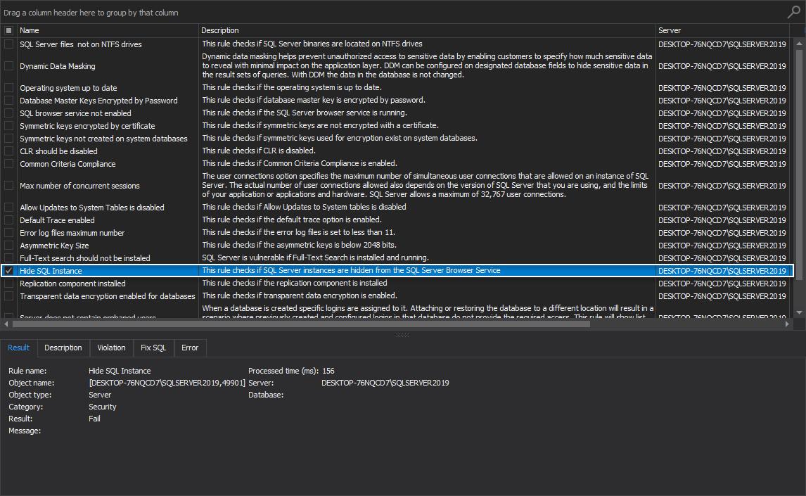 Hide SQL Instance rule