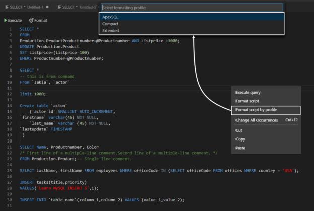 Selecting predefined built-in profiles for formatting MySQL scripts