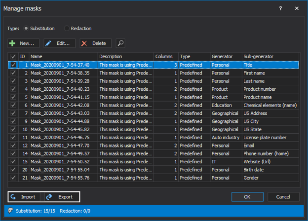 The Export and Import buttons in the Manage masks window