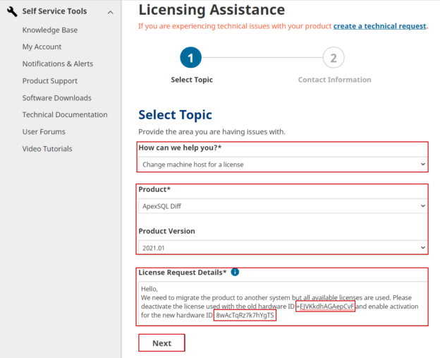 Migrating a license request form